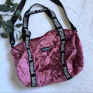VS PINK begonia crushed velvet duffle bag